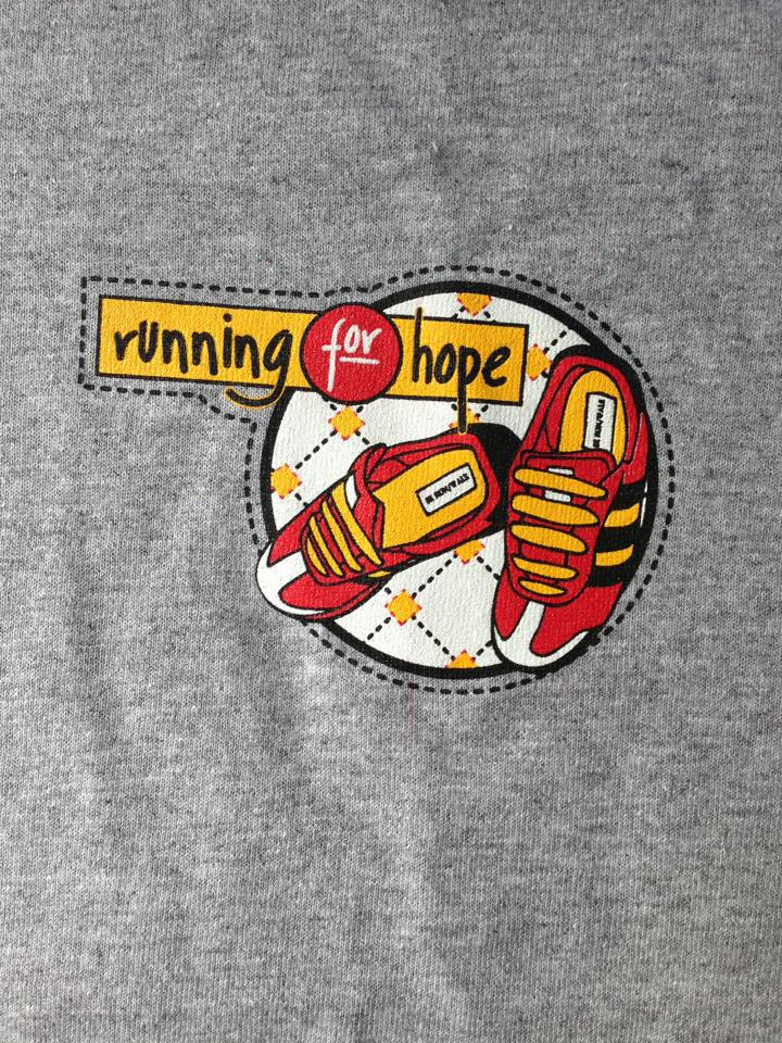 Front of the Running for Hope Official Race Shirt