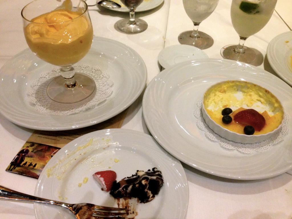 Creme Brûlée, Chocolate Mouse Cake and Papaya Cream, Oh, My!